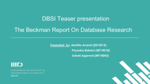 The Beckman Report On Database Research