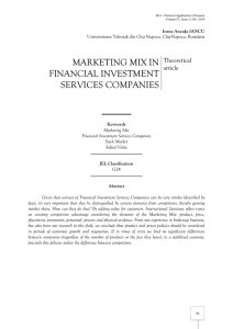 marketing mix in financial investment services companies
