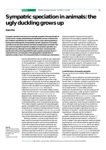 Sympatric speciation in animals: the ugly duckling grows up