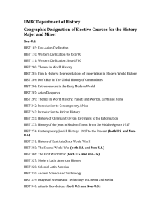 List of geographic designations for History major requirements