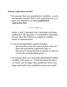 Linear regression model • we assume that two quantitative variables