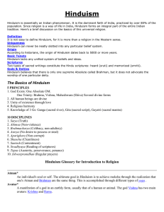 Hinduism Glossary for Introduction to Religion