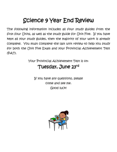Science 9 Year End Review The following information includes all