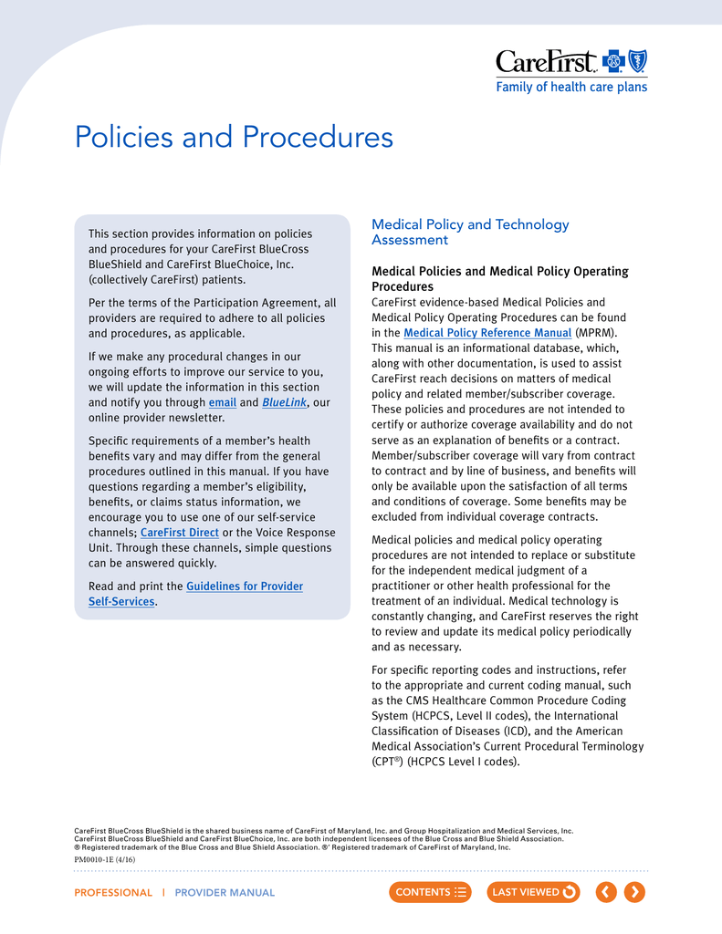 Policies And Procedures Carefirst Providers And Physicians