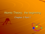 Atomic Theory: the beginning