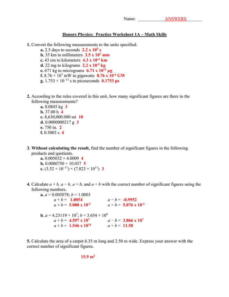 ANSWERS Worksheet 1A – Significant Figures Practice Worksheet