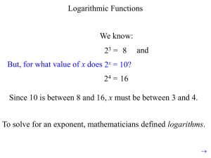 Logarithms and Exponential Functions PowerPoint