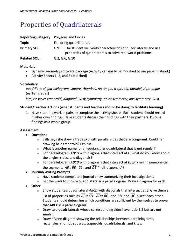Activity Sheet 1 Properties Of Quadrilaterals