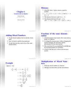 Chapter 1 Distance Adding Mixed Numbers Fractions of the same
