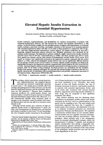 Elevated Hepatic Insulin Extraction in Essential Hypertension