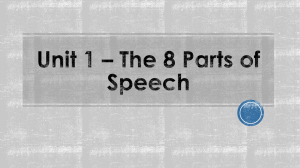 Unit 1 * the 8 Parts of Speech