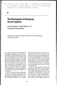 The Development of Intergroup Social Cognition