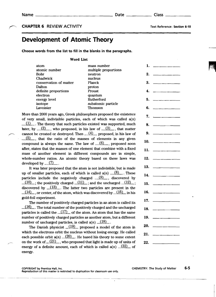 Printables of Development Of Atomic Theory Worksheet - Geotwitter ...