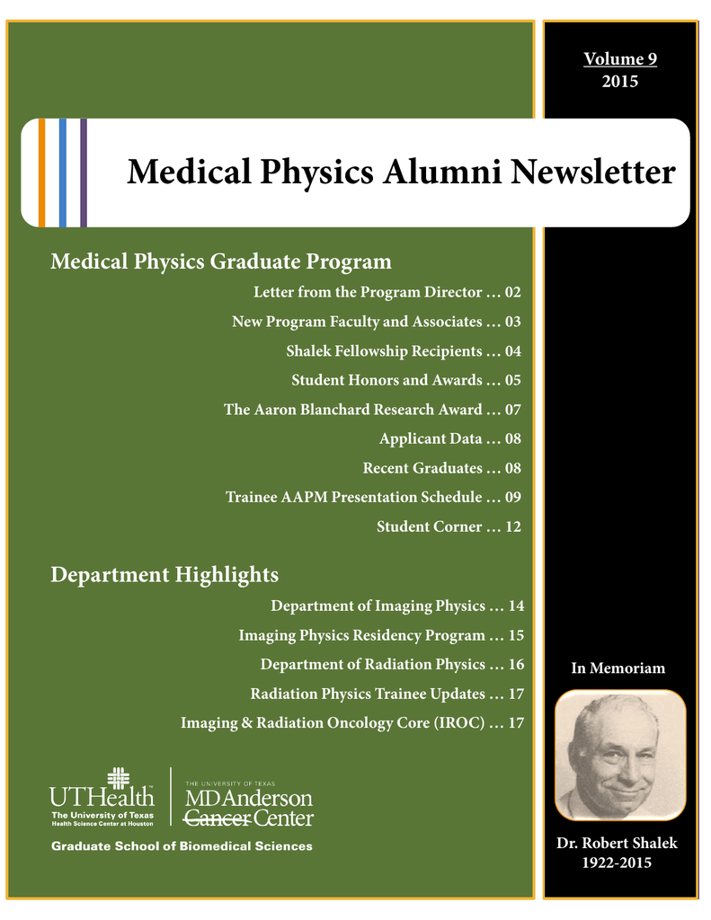 Medical Physics Alumni Newsletter - GSBS Home