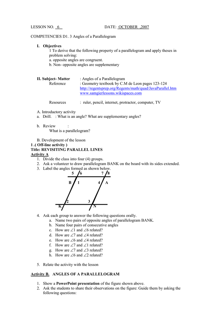LESSON 6 Angles of a Parallelogram