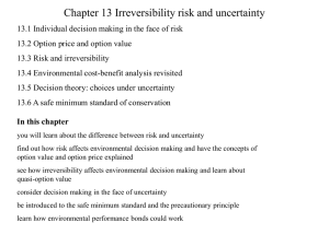 Chapter 13 Irreversibility risk and uncertainty