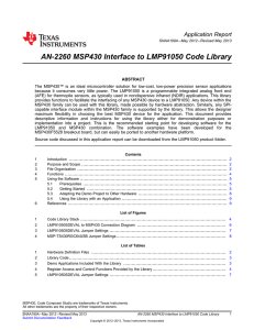 AN-2260 MSP430 Interface to LMP91050 Code