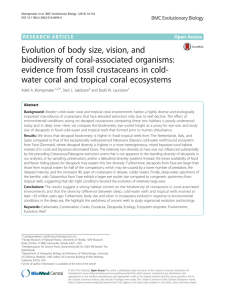 Evolution of body size, vision, and biodiversity of coral