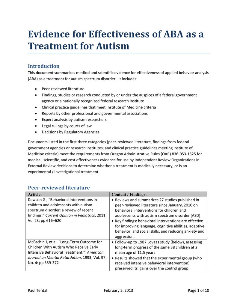 autism report term paper
