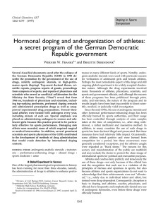 Hormonal doping and androgenization of athletes