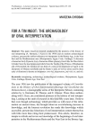 for a tin ingot: the archaeology of oral interpretation