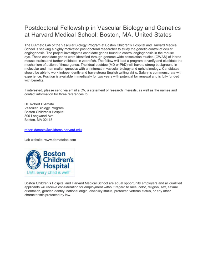 Postdoctoral Fellowship in Vascular Biology and Genetics at