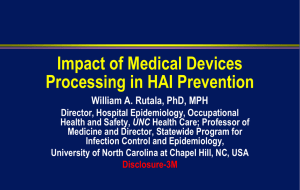 Impact of Medical Devices Processing in HAI Prevention
