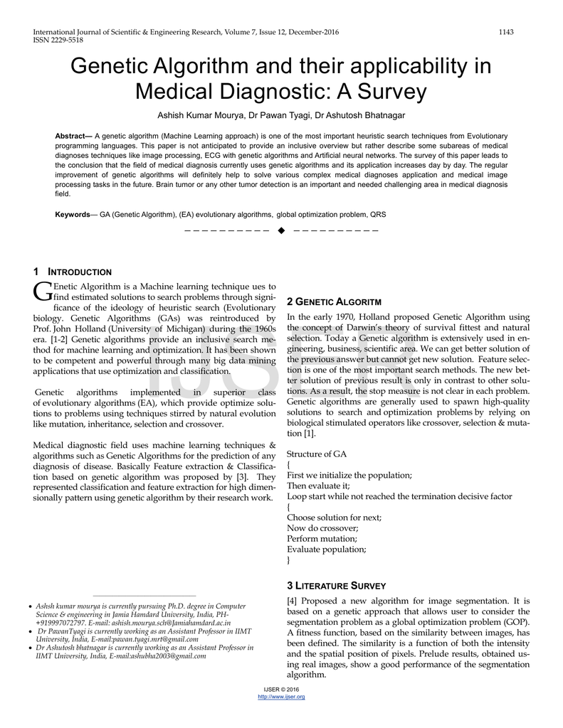 Genetic Algorithm and their applicability in Medical Diagnostic