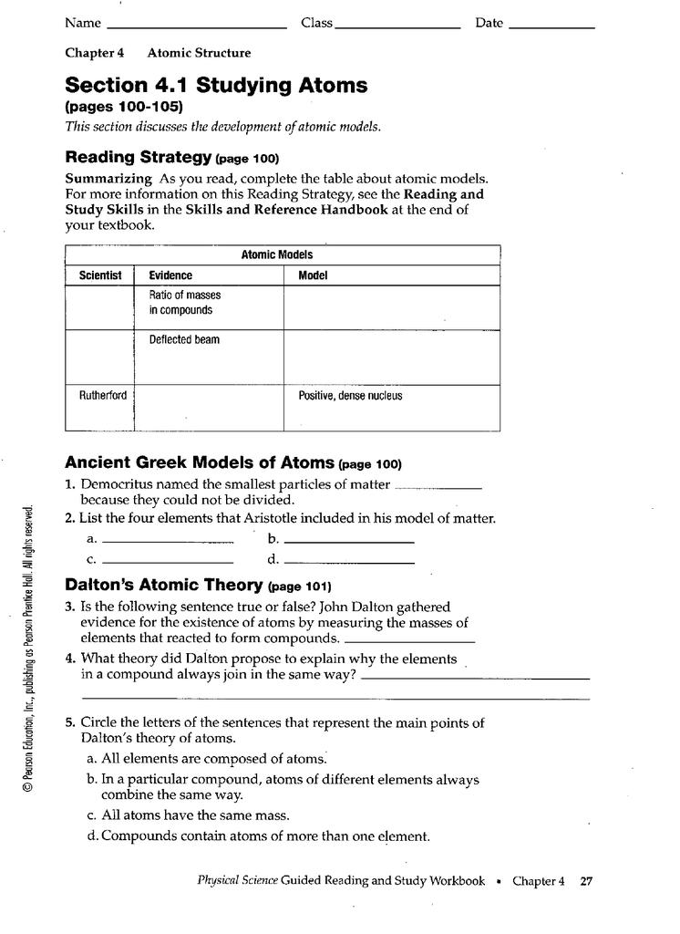 Development of atomic theory worksheet answer key