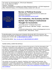 The Institution, the Economy and the Market: Karl Polanyi`s