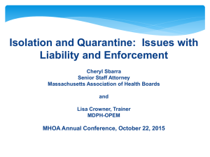 Isolation and Quarantine - Massachusetts Health Officers Association
