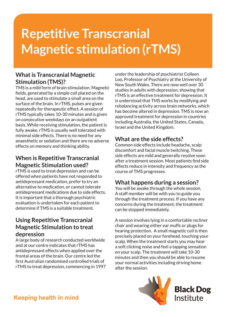 Repetitive Transcranial Magnetic stimulation (rTMS)