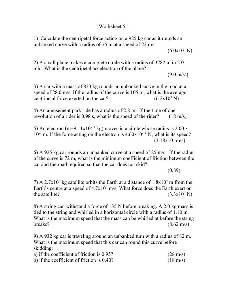 worksheet Calculating Acceleration Worksheet centripetal force worksheet lighthouse christian academy