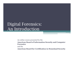Digital Forensics: An Introduction