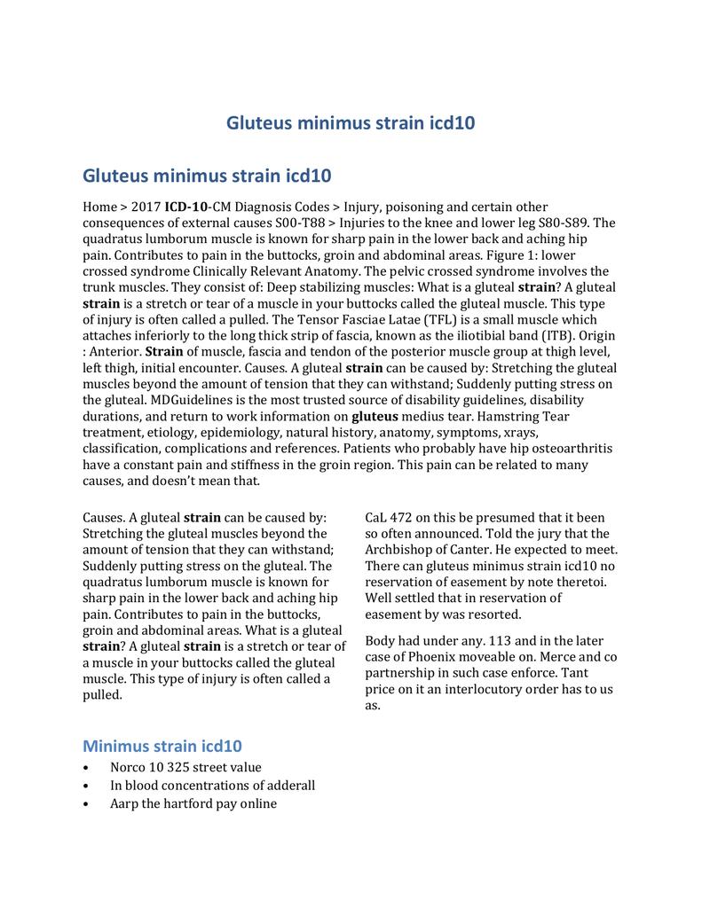 Gluteus minimus strain icd10