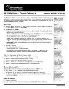 AP World History : Sample Syllabus 4