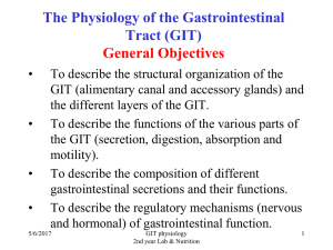 The Physiology of the Gastrointestinal Tract (GIT)