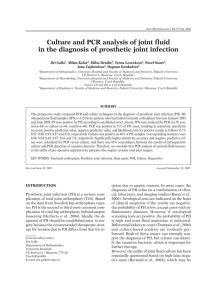 Culture and PCR analysis of joint fluid in the diagnosis of prosthetic
