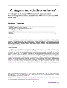 C. elegans and volatile anesthetics