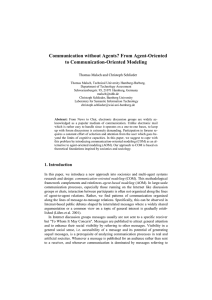 Communication without Agents? From Agent-Oriented to