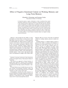 Effect of Negative Emotional Content on Working Memory and Long