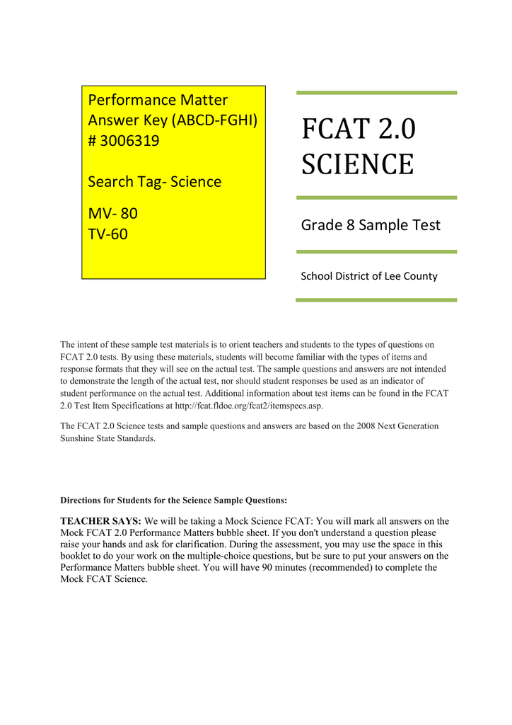 MockFCAT2 0_MJSci3_Answer Key