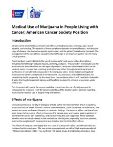 Medical Use of Marijuana in People Living with Cancer: American