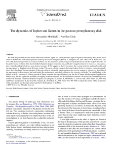 The dynamics of Jupiter and Saturn in the gaseous protoplanetary disk