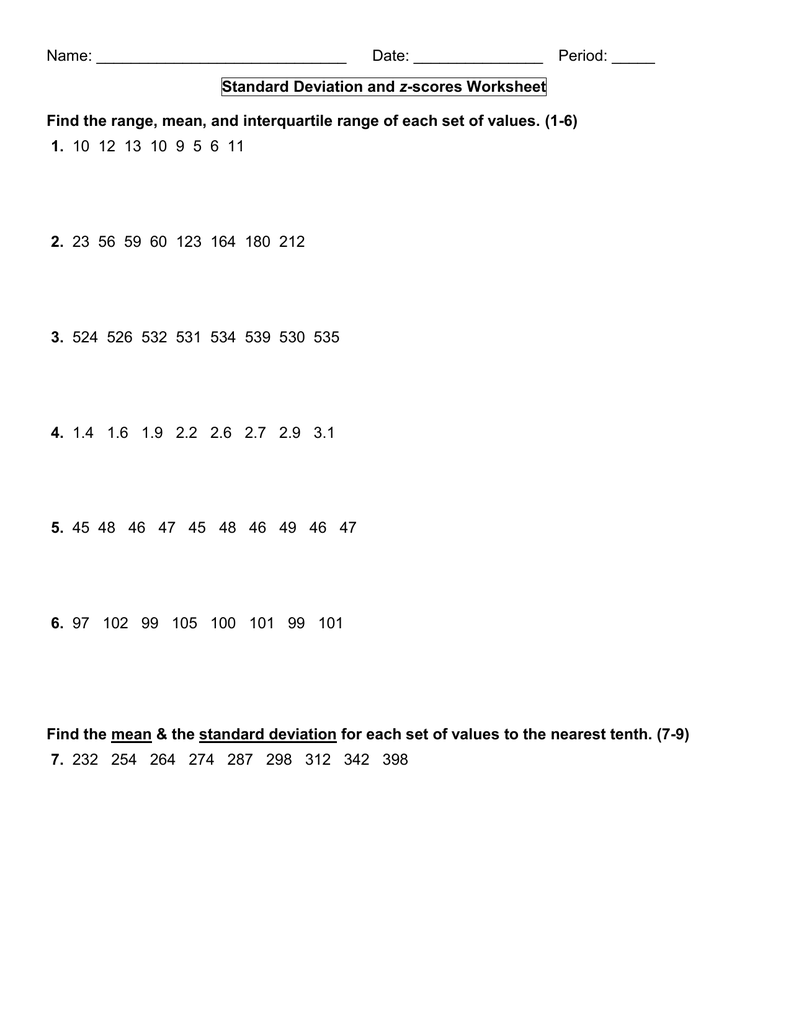 Standard Deviation and zscores Worksheet Find the range – Standard Deviation Worksheet
