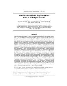 Soft and hard selection on plant defence traits in Arabidopsis thaliana