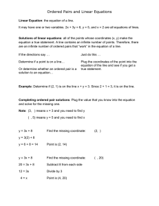 Ordered Pairs and Linear Equations