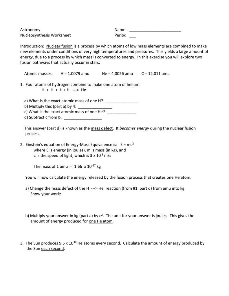 Nucleosynthesis worksheet
