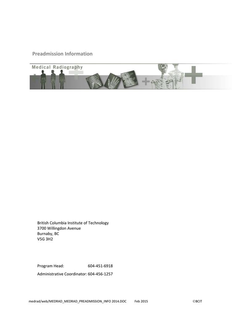 bcit : : health sciences : : med rad preadmission info