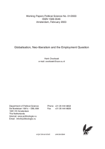 Globalisation, Neo-liberalism and the Employment Question